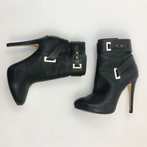 Guess Shanda Black Leather Heeled Ankle Boot